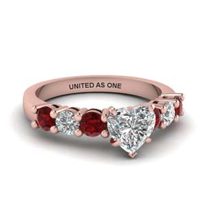 Heart Engagement Rings With Ruby