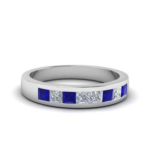 channel set diamond wedding anniversary band with sapphire in 14K white gold FDENS167BGSABL NL WG