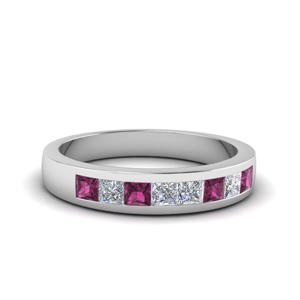 channel set diamond wedding anniversary band with pink sapphire in 950 Platinum FDENS167BGSADRPI NL WG