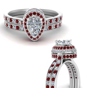 Under Halo Ruby Wedding Set