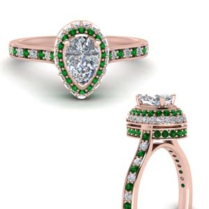 High Set Emerald Halo Ring
