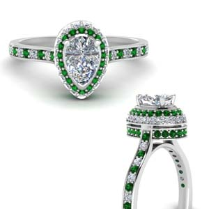 Teardrop Emerald Hidden Halo High Set Ring