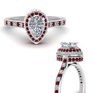 Ruby With Teardrop Halo Ring