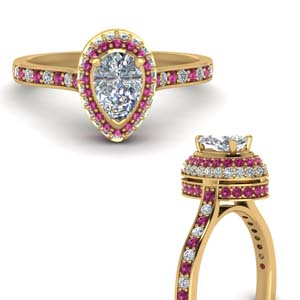 Pink Sapphire Hidden Halo Ring
