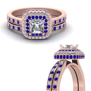 Sapphire Square Halo Wedding Set