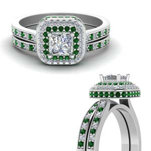 Platinum Emerald Ring Set