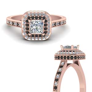 Square Hidden Halo Diamond Ring