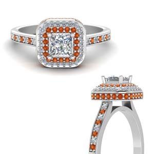 Princess Cut Orange Sapphire Ring