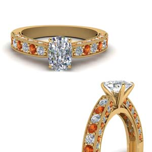 Orange Sapphire Gold Wedding Ring