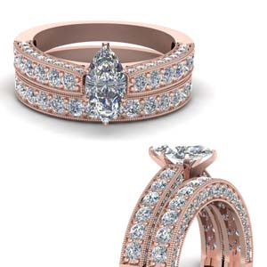 Marquise Shaped Diamond Wedding Set