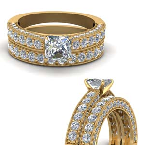 3 Side Diamond Wedding Set