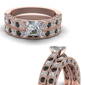 Princess Cut Milgrain Ring Set