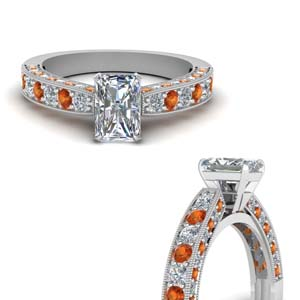 Radiant Diamond Ring With Milgrain