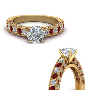 High Set Ruby Milgrain Ring