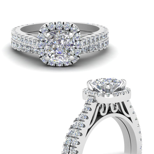 Diamond Petite Halo Bridal Set