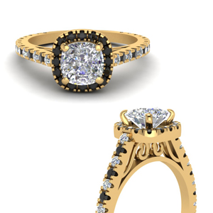 French Pave Black Diamond Halo Ring