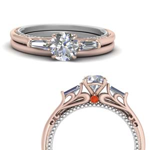 2 Tone Baguette Wedding Set
