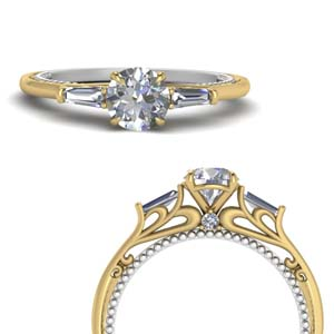 Multi Gold 3 Stone Baguette Ring