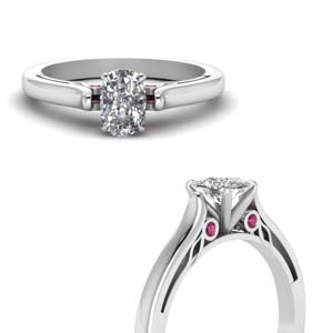 Cushion Cut Ring With Pink Sapphire