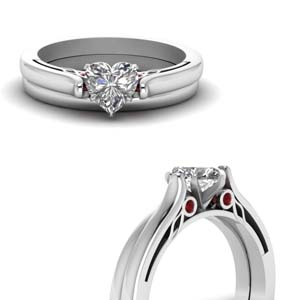 Ruby Cathedral Wedding Set