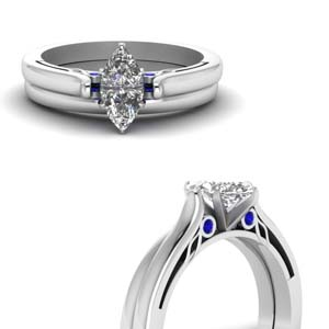 Sapphire Cathedral Wedding Set