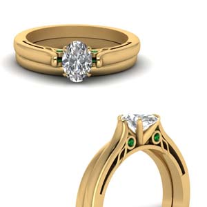 Cathedral Emerald Wedding Set