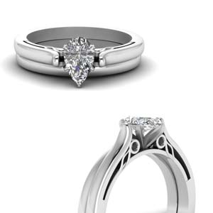 High Set Black Diamond Wedding Set