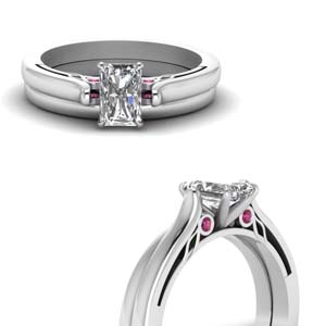 High Set Pink Sapphire Bridal Set