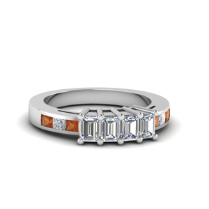 Accent Square Orange Sapphire Band