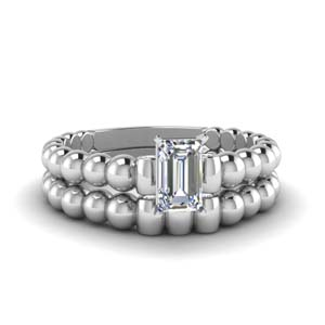 Bead Design Wedding Ring Set
