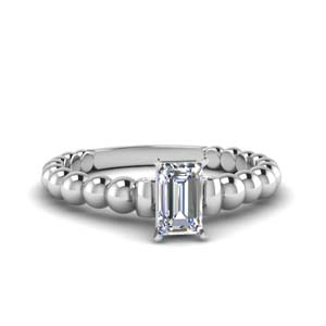 Bead Solitaire Engagement Ring
