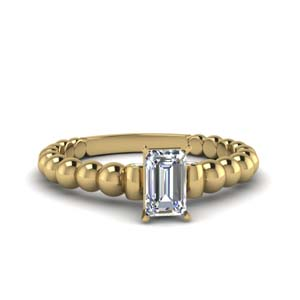 Bead Emerald Cut Ring