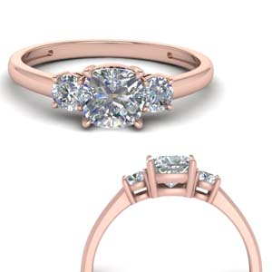 Basket Prong Cushion Cut 3 Stone Wedding Ring