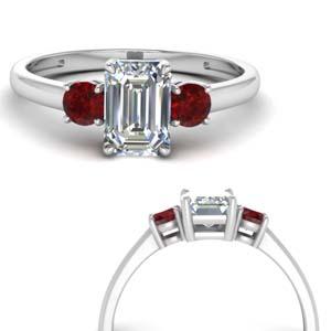 Accent Ruby Emerald Cut Ring