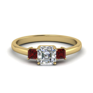 3 stone asscher cut engagement ring with ruby in 14K yellow gold FDENS3107ASRGRUDR NL YG