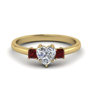 3 stone heart shaped engagement ring with ruby in 14K yellow gold FDENS3107HTRGRUDR NL YG