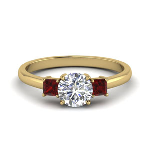 Ruby Round Diamond Ring