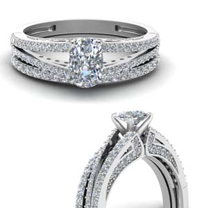 Split Diamond Wedding Set