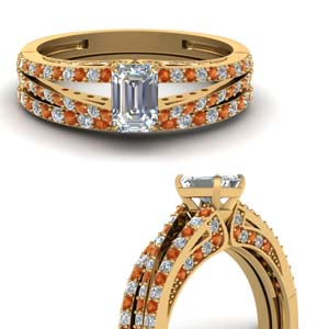 Orange Sapphire Emerald Cut Set