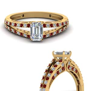 delicate split shank emerald cut diamond engagement ring with ruby in FDENS3131EMRGRUDRANGLE3 NL YG.jpg