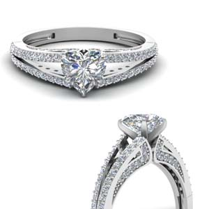 Heart Split Shoulder Engagement Rings