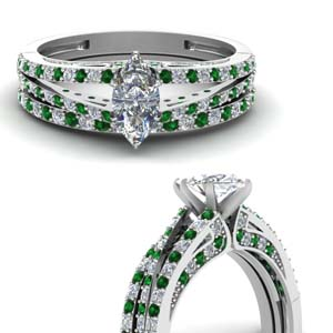 Marquise Diamond Emerald Bridal Set