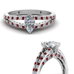 Marquise Diamond Ring With Ruby