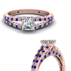 Princess Cut Split Ring With Sapphire
