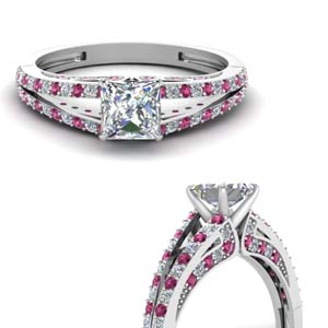 delicate split shank princess cut diamond engagement ring with pink sapphire in FDENS3131PRRGSADRPIANGLE3 NL WG.jpg