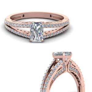 Moissanite Radiant Cut Side Stone Rings