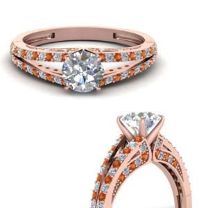 Round Diamond Split Shank Ring