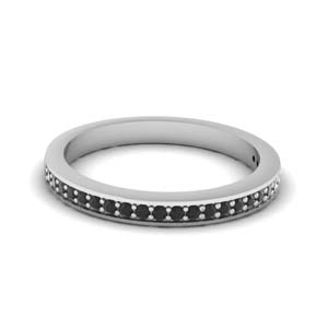 316504d973af6e Thin Delicate Gemstone Wedding Band Gemstone Wedding Rings with Black  Diamond in 18K White Gold
