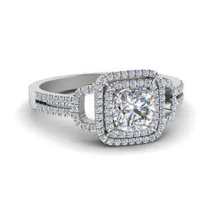cushion cut double halo diamond engagement ring in FDENS3202CUR NL WG