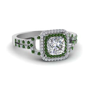 cushion cut double halo diamond engagement ring with emerald in FDENS3202CURGEMGR NL WG.jpg